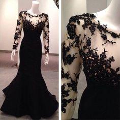 black prom dresses, long sleeves prom dresses #SIMIBridal #promdresses