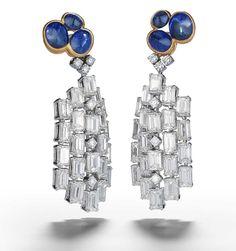 Alexandre Reza Atoll earrings featuring 8.56ct cabochon unheated Burmese sapphires, 22.00ct emerald-cut diamonds and brilliant-cut diamonds.