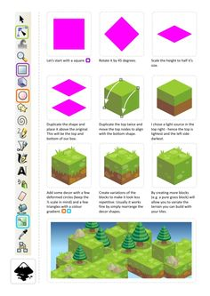 Game Art for Programmers: Building isometric art in vectors - step 1 Mais Isometric Drawing, Isometric Design, 2d Game Art, Video Game Art, Web Design, Game Design, Vector Design, Art Isométrique, 2d Art