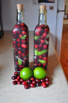 Cranberry-Lime infused vodka makes a great gift for adults! Both festive and tasty!
