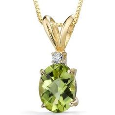 14 Karat Yellow Gold 1.50 carat Oval Checkerboard Cut Peridot Diamond Pendant with Chain (Jewelry)  http://documentaries.me.uk/other.php?p=B003S8MH20  B003S8MH20