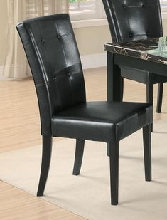 Anisa Parson Chair in Black Faux Leather (Set of 2) - Coaster 102772 Parsons Dining Chairs, Mismatched Dining Chairs, Dining Chair Set, Dining Room Chairs, Side Chairs, Dining Table, Coaster Furniture, Bar Furniture, Dining Room Furniture