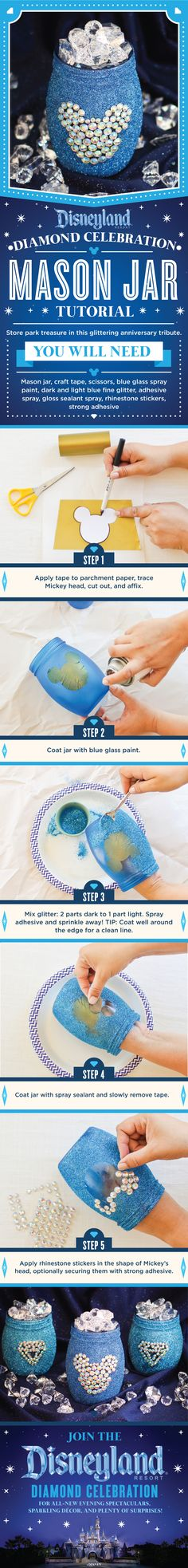 Feeling crafty? Learn how you can make this dazzling DIY Mason jar, inspired by the Disneyland Resort Diamond Celebration!
