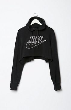 Retro Gold Vintage Nike Cropped Fleece Hoodie Sweatshirt at PacSun.com