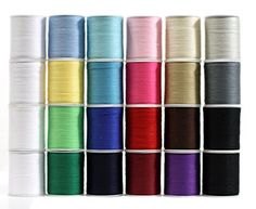 Polyester Sewing Thread 24 Spools Multi Colored 200 Yards  Pack of 24 spools of thread in assorted colors in a ziplock plastic bag. 4 white spools, 2 black spools the other colors include: grey, light grey, light yellow, light green, green, sky blue, seafoam green, dark blue, blue, light blue, raspberry, red, bright pink, pink, brown, light brown, khaki and ivory. Good set of threads to have for regular sewers.         Polyester Sewing Thread 24 Spools Multi Colored 200 Yards Feature..