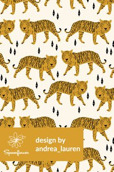 Tiger Illustration by andrea_lauren - Hand illustrated tigers and geometric shapes by indie designer Andrea Lauren. This adorable tiger and triangles design is perfect for a kid's room, throw pillows, or wallpapering a room! Bold orange and black tigers on fabric, wallpaper, and gift wrap. #tigers #tiger #geometric #animal #animals #stripes #kidsroom #fabric #wallpaper #baby #illustration