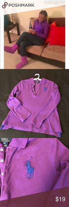 POLO BY RALPH LAUREN L/S POLO SHIRT POLO BY RALPH LAUREN L/S POLO SHIRT. Purple L/S Shirt with Big Blue Polo Polo by Ralph Lauren Shirts & Tops Tees - Long Sleeve