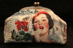"""Bolsa Mão """"Anos 40"""" handmade by Costura Xtrodnária"""