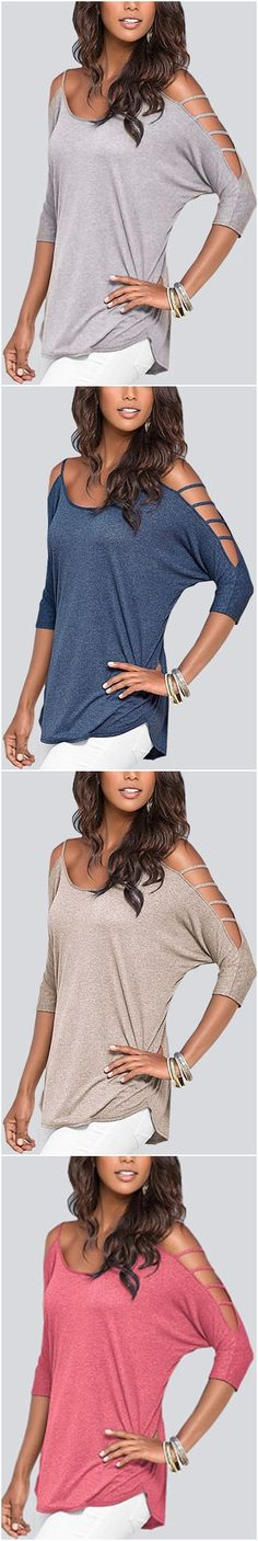 Cold Shoulder 3/4 Length Sleeve T-shirt with Strappy Detail US$11.95