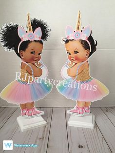 Please read carefully this listing is for 1 Unicorn Baby Centerpiece. Great for birthday party or baby shower. Babies come in 3 skin tones and 4 hair color to choose from. Please specify when ordering you could choose boy or girl. Centerpieces measure 15 but with stand 16 or more.