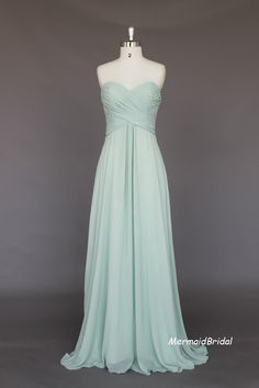 Simple Chiffon Long prom dress, evening dress, Party dresses, Long Bridesmaid Dress With Sweetheart Neckline. $129.99, via Etsy.
