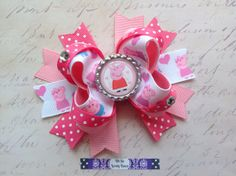Pink and White Peppa Pig Boutique Hair Bow on Etsy, $6.00