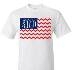 Chevron American Flag Monogram T-Shirt July 4th by VinylDezignz