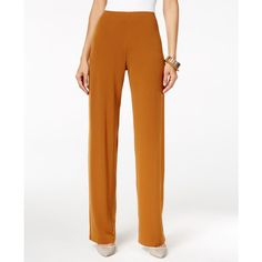 Alfani Knit Wide-Leg Trousers, ($45) ❤ liked on Polyvore featuring pants, brushed sienna, slacks pants, white wide leg trousers, alfani pants, wide leg pants and wide-leg trousers