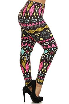 fd3eff34205aa PLUS SIZE ONE SIZE BLACK GREEN YELLOW PINK TRIBAL PRINT LEGGINGS at Amazon  Women's Clothing store:
