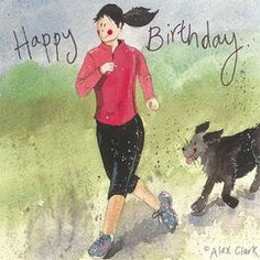Lady Runner Birthday Card By Alex Clark Girl Dog Run Keep Fit