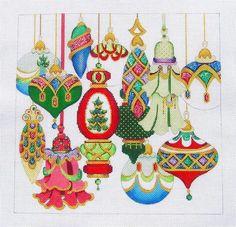 Christmas ornaments needlepoint canvas