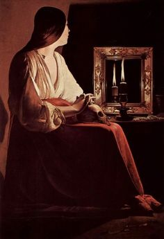 Paintings of Mary Magdalene, the Magdalene, George de la Tour. Learned about this in french and loved this painting representing Mary Magdalene