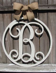 Large Circle Wooden Monogram Script Initial Decor in chippy Ivory Crackle - Makes a beautiful Christmas Gift!!! Welcome to Vintage Shore! This