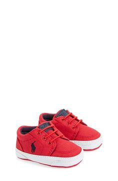 Ralph Lauren Layette 'Faxon' Crib Shoe (Baby) available at