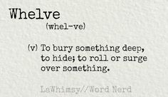 Whelve (v) to burn something deep, to hide; to roll or surge over something. Definition via Word Nerd by LaWhimsy