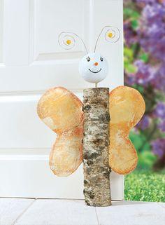 Baumstamm Schmetterling als Türstopper