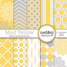 BUY 1, GET 1 FREE - Digital Scrapbook Paper Pack - Mod Yellow - Yellow & Grey. $3.50, via Etsy.