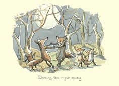 M218 Dancing the Night Away by Anita Jeram  A Greeting Card by www.twobadmice.com