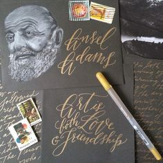 """Hi there! I'm Liz of @tuccicursive, and I'm guest posting this week for @sakuraofamerica inspire you for #nationalletterwritingmonth I'm featuring some of my lettering and envelope art.  Ansel Adams, legendary landscape photographer wrote a beautiful letter to his best friend Cedric Wright. In it, he tells him what he knows love to be. Among his thoughts, is the line """"...Art is both love and friendship, an understanding; a desire to give."""" Read the whole letter in @ShaunUsher 's letter…"""