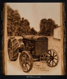 Tractor - Handcrafted Woodburning by brandojones on DeviantArt Wood Burning Crafts, Wood Burning Patterns, Wood Burning Art, Wood Crafts, Leather Art, Woodworking Patterns, Marquetry, Custom Engraving, Wood Carving