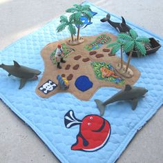 Pirate Island Play Mat, Activity Roll Up Travel Mat