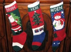 Christmas stockings knitted from 1950's-era patterns.