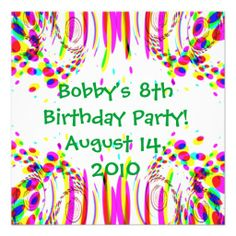 24 best 8th birthday party invitations images on pinterest fun colorful birthday party invitation filmwisefo