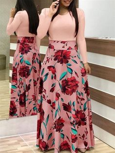 Pink Floral Print Long Sleeve Casual Dresses