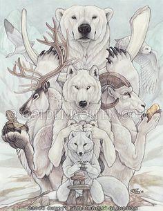 The nordic totem Bear Spirit Animal, Animal Spirit Guides, Inuit Kunst, Inuit Art, Totem Tattoo, Spiritual Animal, Arctic Animals, Arctic Wolf, Desenho Tattoo