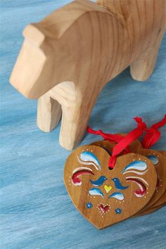 Pretty Wooden Painted Heart DIY Christmas Ornaments