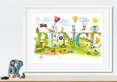 Children's Room Decor – Custom name print christening gift new baby gift – a unique product by NanettoDesign on DaWanda