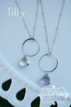 Tilly Sterling Silver Circle Gemstone necklace by darleenmeier