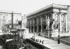 Campidoglio 1908 Old Photographs, Old Photos, Once Upon A Time, Bed And Breakfast, Rome, Louvre, Retro, Architecture, Statues