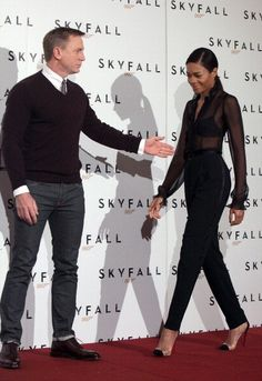 Daniel Craig & Naomie Harris at a photocall for Skyfall in Rome.