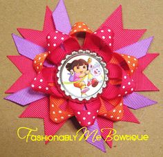 Dora and Boots Boutique Stacked Bottlecap Bow by FashionablyMeBows, $4.75