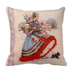 Victorian Throw Pillows | Old Fashioned Shopping Christmas Pillow