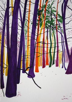"Nadja Gabriela Plein; Watercolor, Painting ""snow forest 32 (purple, orange, yellow, pink and green trees)"""
