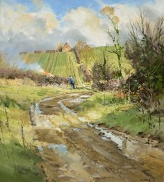 Autumn Work by John Lines Landscape Drawings, Landscape Art, Landscape Paintings, Art Drawings, Landscapes, Line Artist, Watercolour Painting, Watercolours, Street Painting