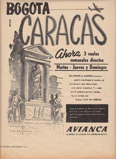 BOGOTA - CARACAS 1958 SUPER CONSTELLATION AVIANCA AD