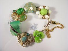 Vintage Earring Bracelet Bridesmaid Gift by JenniferJonesJewelry, $37.50