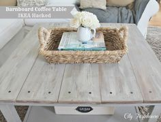 City Farmhouse: Ikea Hacked Barnboard Coffee Table Tutorial....now I know what to do with my black Lack coffeetable with the hole in it! Yessss