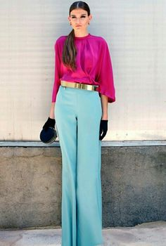 Baby blue pants and fuchsia top