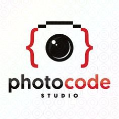 Photo Code Studio logo #logo #mark #design #symbol #code #coding #coder #developer #app #applications #bracket #camera #photography #lens