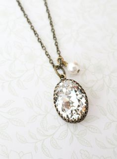Vintage style Crystal Clear White Oval Swarovski Crystal brass necklace, dainty vintage bridesmaid necklace, rustic countryside, www.glitzandlove.com